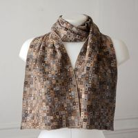 Long scarf Sophie Digard - hand crocheted 100 % merino wool - soft browny, light orange and grey hues