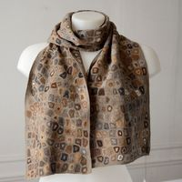 Sophie Digard - long scarf - hand crocheted - merino wool - ocre, soft brown, grey, cream....
