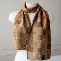 Sophie Digard - long scarf - very fine hand crocheting - ochre, camel, cream, soft and dark brown