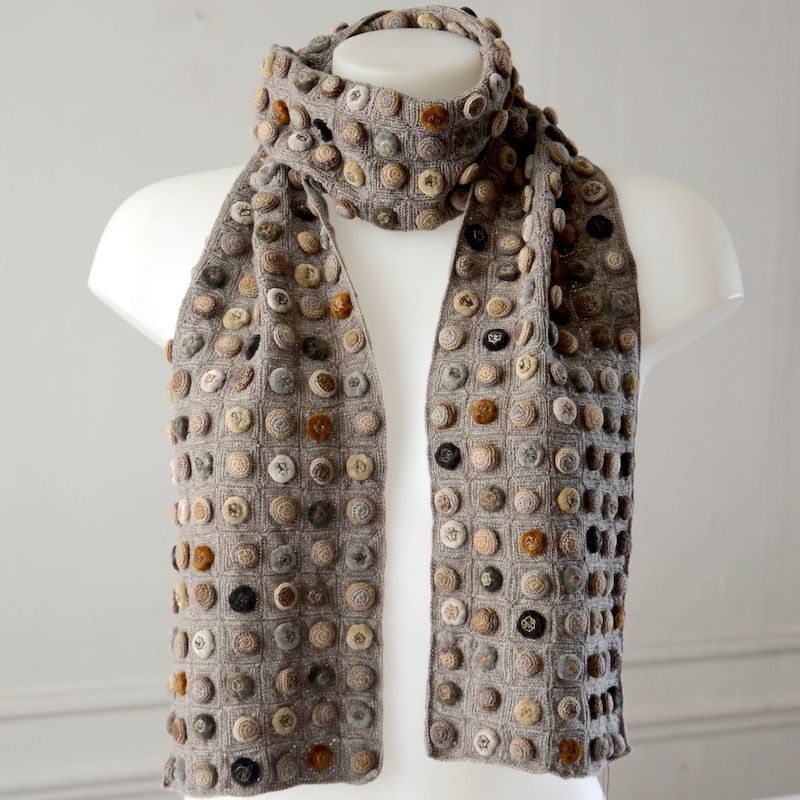 Sophie Digard creations - Long scarf - merino wool and velvet - Shades of greys, beige and ochre