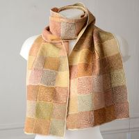 Long Sophie Digard scarf - 100 % linen - sand and earth hues - arts and crafts