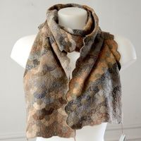 Sophie Digard long scarf - arts and crafts - 100 % linen - hues of old stone walls, light and middle greys, ochre, light beige