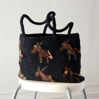 Tote bag Sophie Digard - merino wool - embroidered donkeys