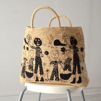 Sophie Digard - large rafia tote bag, basket - macramé embroidered with family outside in picnic