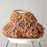 Tote bag Sophie Digard creations - natural raphia - middle size - mixed beige and orange raphia