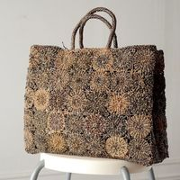 Arts and handicrafts - Sophie Digard - large tote bag - raphia, macramé and crochet - grey and beige