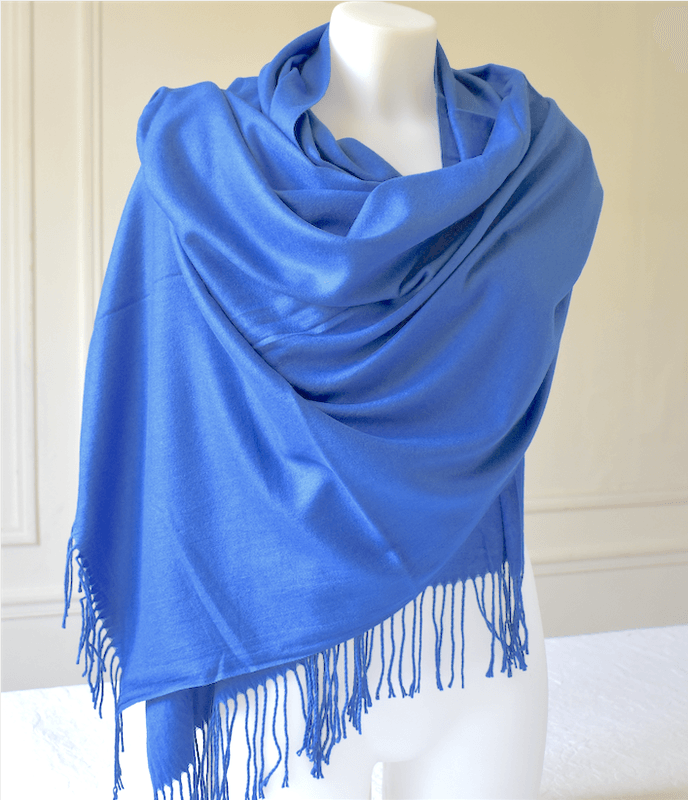 Large sapphire blue wrap - cashmere, wool and viscose
