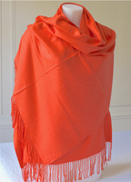 Wrap - Large and warm - orange red - cashmere, wool and viscose