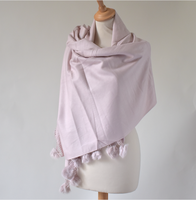 Lovely light pink shawl - cashmere, wool and viscose - with rabbit pompoms