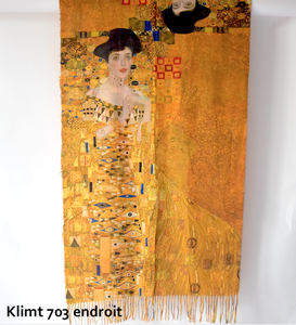 Large and warm shawl - double face reproduction from a Gustav Klimt picture : Portrait of Adele Bloch Bauer