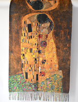 "Long ""double face"" shawl in golden hues - The famous ""Kiss"" by Klimt"