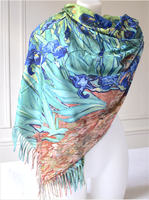 "Large and warm shawl, printed on both sides - Van Gogh ""Irises"" and flowers"