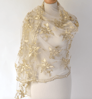 Wedding, evenings or parties wrap - An off-white veil embroidered with gold and silver flowers - Good for your carnationand your mood!