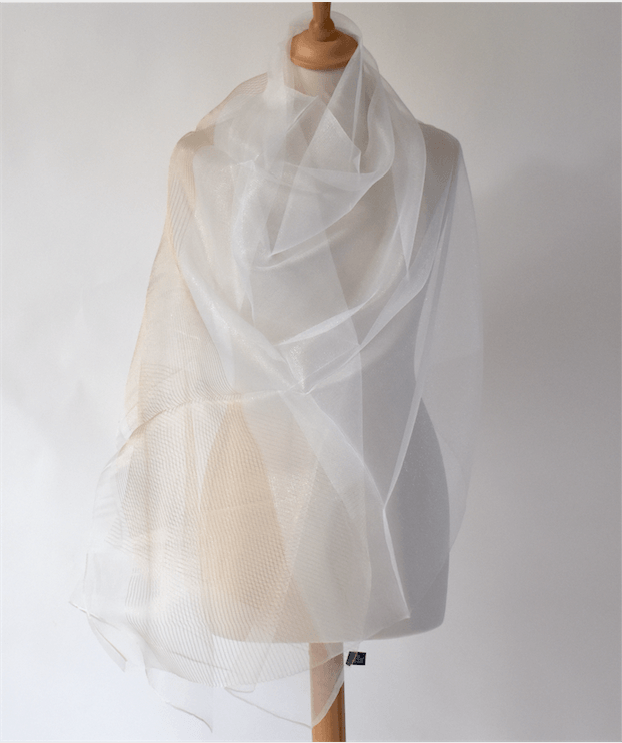 Silk organza wrap for weddings, evenings, parties - Ivory and gold