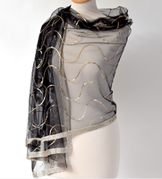 Chic and sophisticated wrap - silk organza and viscose - black and gold - for weddings, evenings