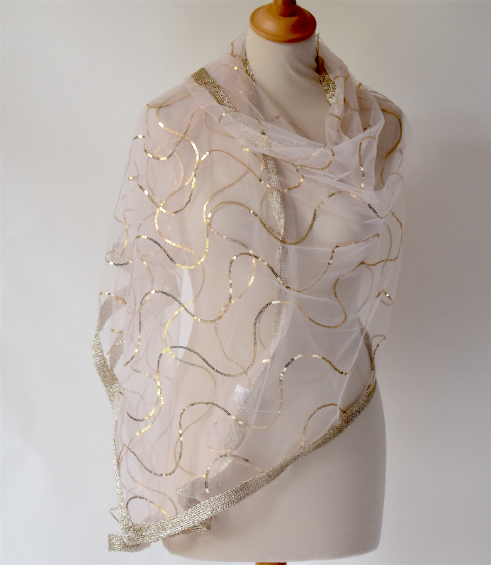 Very light pink and gold wedding, evening wrap - Silk organza and viscose