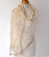 A beautiful wrap for evenings, weddings or parties - organza silk and viscose embroidered with sequins and bordered with silver or gold threads