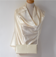 Matching duo for weddings, evenings, parties : ivory/beige silk wrap with samecolour clutch