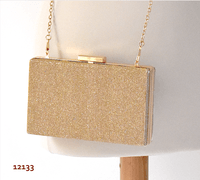 Golden evening box clutch - material shantung like