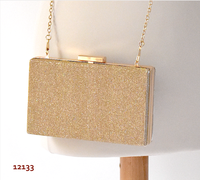 Classy golden clutch, box-shaped - soft gold