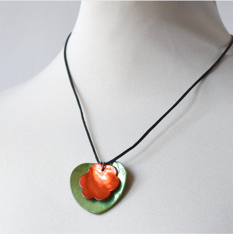 "Double mother of pearl pendants - ""heart and flower"" -  coral mother of pearl flower on green mother of pearl heart"