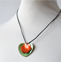 """Double mother of pearl pendants - """"heart and flower"""" -  coral mother of pearl flower on green mother of pearl heart"""