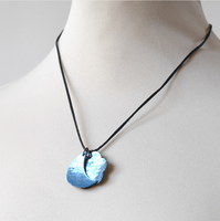 "Mother of pearl sky blue pendant - ""Moon on flower"" - round satin necklace"