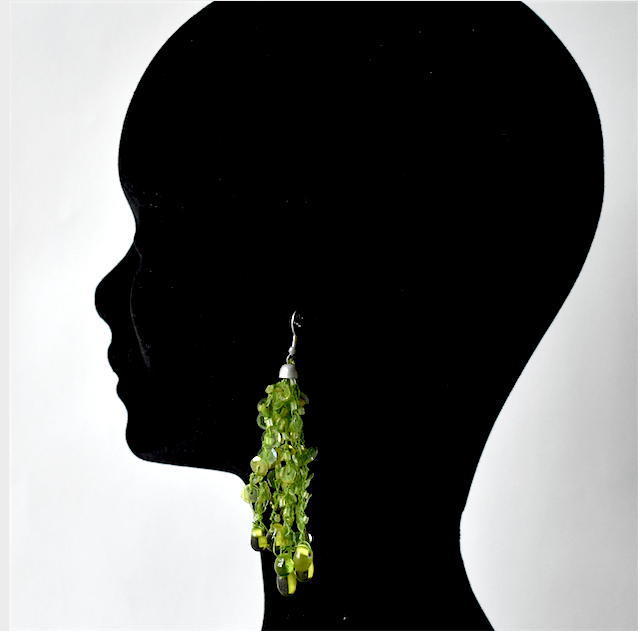 Long ear pendants - pair of earrings - cristal green beads for pierced ears