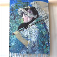 "Large and warm double face stole - Manet ""Le Printemps"""