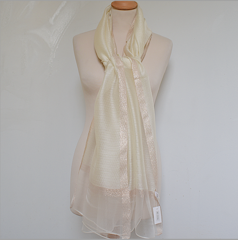 Very fine wedding, evening stole - ivory and pink gold