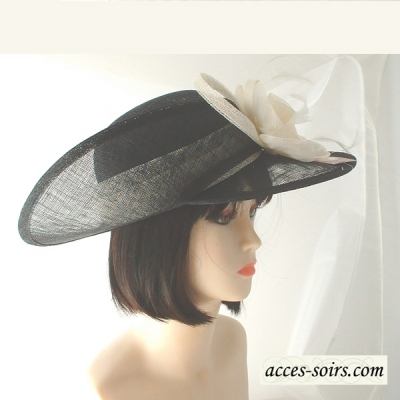Very chic bi-coloured asymetrical wedding hat