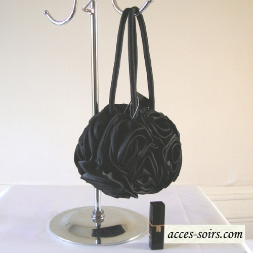 "Round ""aumoniere"" satin evening bag"