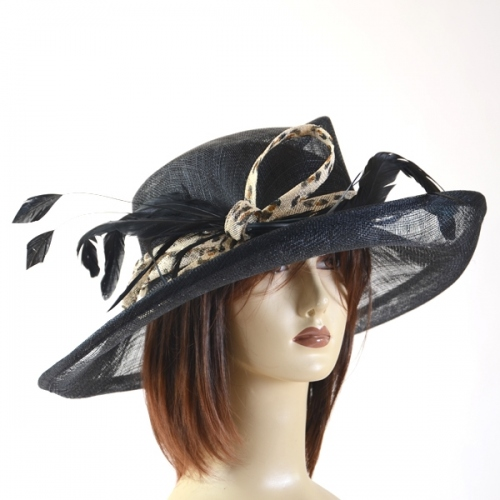 Off-white, black or red wedding hat with jungle brown and black leopard band