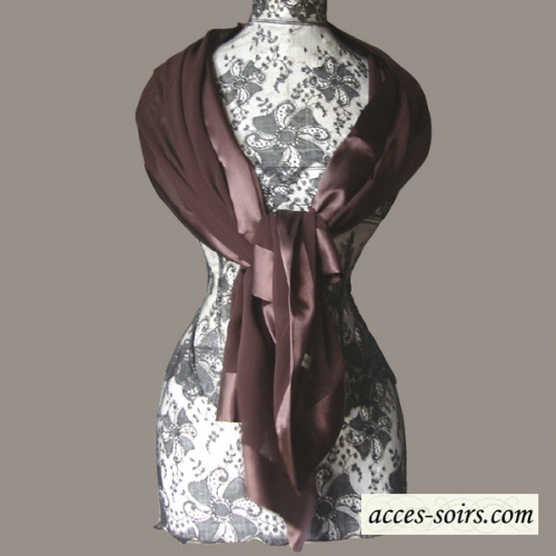 Chocolate brown stole/shawl silk and satin