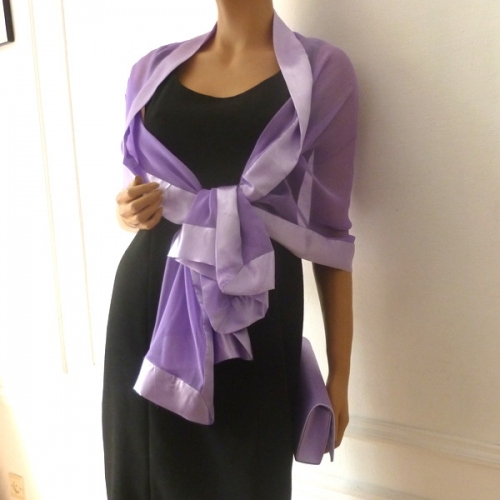 Mauve wedding silk mousseline and satin stole