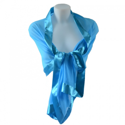 Turquoise blue stole/shawl silk and satin
