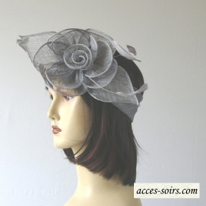 Wedding headband pearl grey