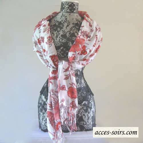 Cotton off-white and coral shawl