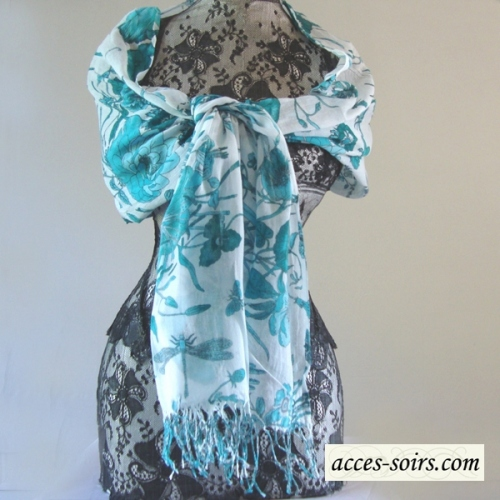 Long foulard - turquoise blue prints on off-white background