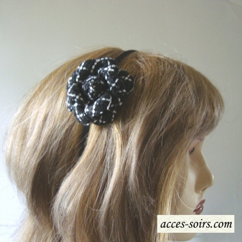 Black and white camelia on headband