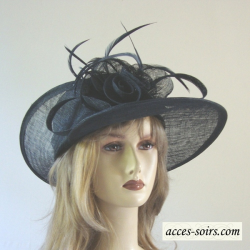 Navy wedding sinamay headwear