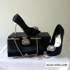 LOW PRICE : Black high satin evening shoes : 35, 36, 37 only