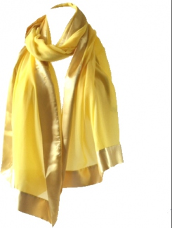 Yellow wedding shawl/stole in silk mousseline and satin