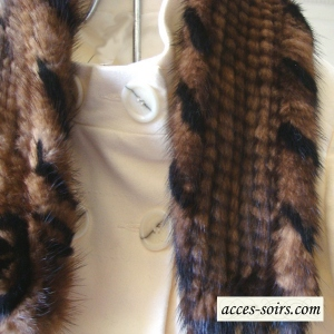 Brown and black mink collar