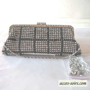 Souple crystal and silver evening bag