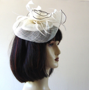 Airy sinamay, satin and feathers off-white headband