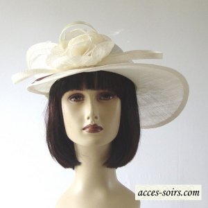 Ivory sinamay wedding hat