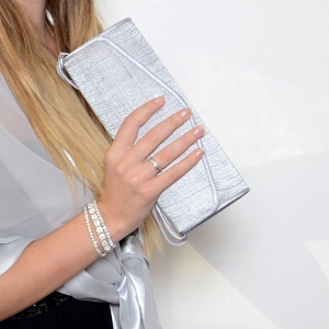 Long and fine sinamay evening  bag : 7 colours - grey out of stock