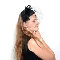 Sinamay fascinator for weeddings, evenings... with spot veil - 4 COLOURS