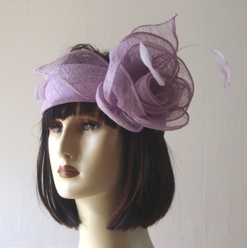 Lilac wedding headband sinamay and flowers